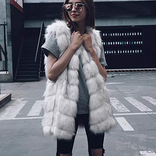 Gilet Manteau Fourrure sans Outwear Gilet Fausse Manteau Femme Hiver Fausse paules sans Dames Printemps Femmes Outwear Automne Blanc Veste Manches Hausser Gilet zqwd0zH