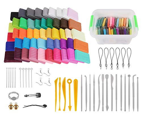 Polymer Clay Starter Kit, Genround Modeling Clay Tools Set, 50 Blocks Oven-Bake Clay, 19 Clay Sculpting Tools, 25 Clay Modeling Tool Accessories, Non-Stick, Non-Toxic, Basic Starter Kit