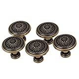 BQLZR 30 x 26mm Antique Bronzy Flower Round Handle Kitchen Cabinet Cupboard Door Drawer Pull Knob Without Screws Pack of 5