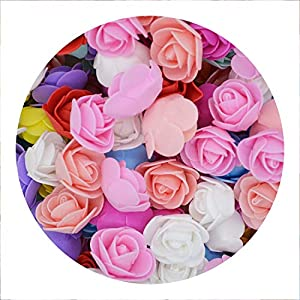 pleasantlyday 50Pcs/lot 3.5cm Mini PE Foam Rose Flower Head Artificial Flowers for Home DIY 101