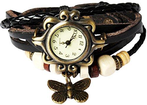 Women Handmade Watches Weave Wrap Leather Bracelet Wristwatch White - 1