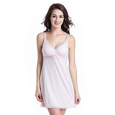 27ab56a8bf3b SW-Ning Sexy Maternity Camisole Dress Pajama Sling Cotton Nursing Sleep  Nightwear Lingerie for Breastfeeding Size L (Light Pink)  Amazon.co.uk   Clothing