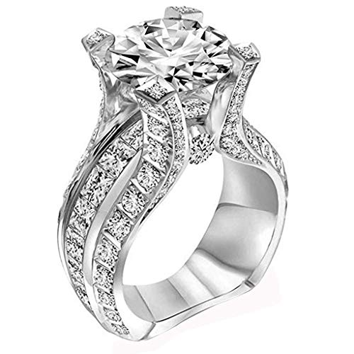 Xinantime Women's Bridal Rings Elegant Silver Zircon Diamond Ring Engagement Wedding Band Ring (8, Silver)