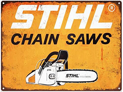 Yohoba Stihl Tronçonneuse en métal Panneau Repro Mancave Garage Shop Mancave 20,3 x 30,5 cm