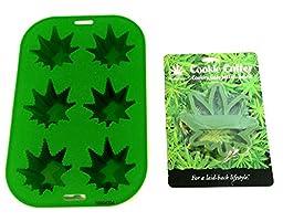 Stonerware Pot Weed Marijuana Leaf Cookie Cutter & Pot Leaf Cake Pan Bundle (2 Items)