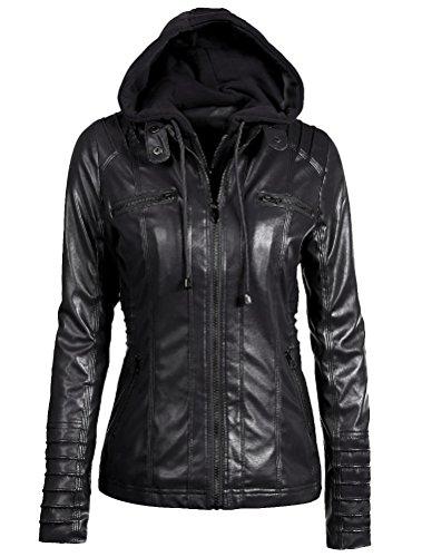 Giacchetto Nero Giacche Zip Pelle Ragazza Hooded Corto Jacket Donna Giacca Slim In Mallimoda Rwq87x
