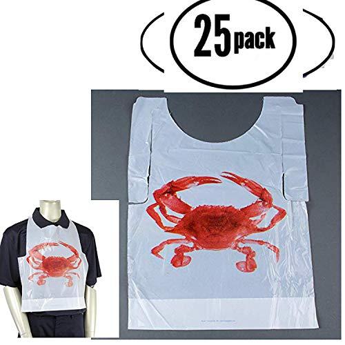Disposable Plastic Crab Bibs 25 pack Disposable Adult crab feast bibs (25)