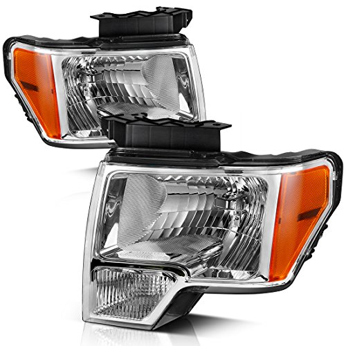 For 09 10 11 12 13 14 Ford F150 Pickup Headlight Assembly, OE Direct Replacement Headlamp,Chrome Housing Clear Lens with Chrome Trim,One-Year Warranty (Passenger and Driver Side)