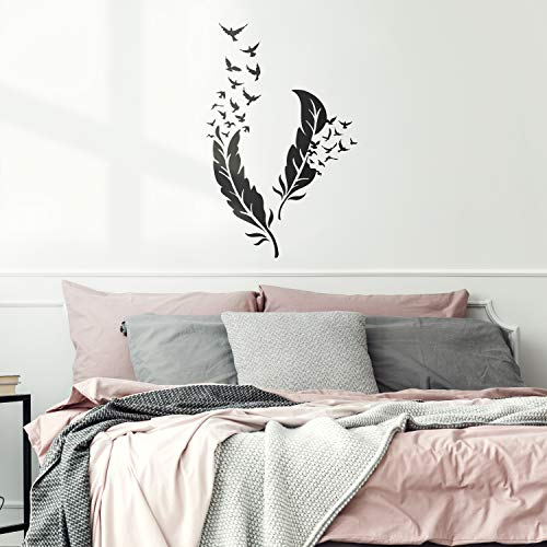 Set of 2 Vinyl Wall Art Decal - Feathers With Flying Birds - 26.44