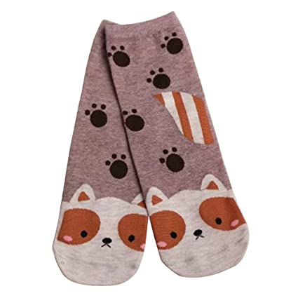 Junlinto donna bambina cartone animato gatto volpe cane calzini