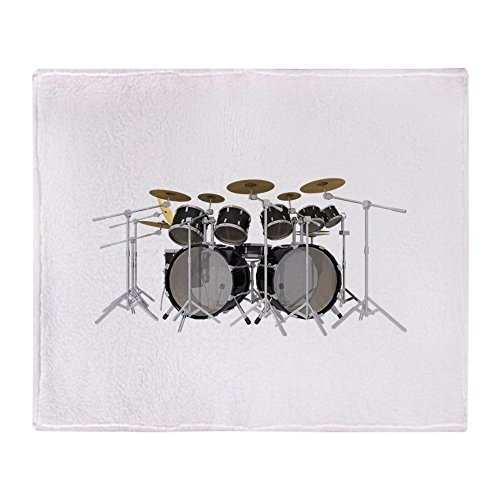 CafePress - Large Drum Kit: Black - Soft Fleece Throw Blanket, 50