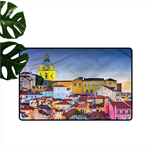 - Outdoor Door mat Cityscape Portugal Skyline Dome Anti-Fading W31 xL47
