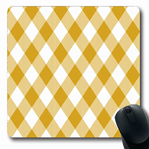 Goldenrod Gingham Pattern Rhombussquares Plaid for from Rhombus Squares Dresses Design Abstract Oblong Shape 7.9 x 9.5 Inches Non-Slip Gaming Mouse Pad Rubber Oblong Mat ()