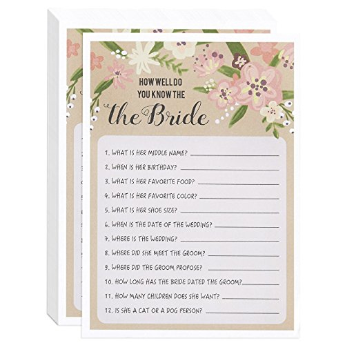"""How Well Do You Know The Bride"" Pink Vintage Floral Flower Themed Bridal Shower and Wedding Anniversary Game Cards Includes 50 Sheets - 5 x 7 Inches"