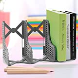 Chris-Wang Adjustable Desktop Bookends/Retractable Plastic Book Stand/Expanding File Rack/Extension Magazine Holder/3 Slot Bookshelf, Library School Office Supply(Grey)