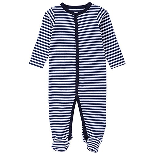 Babe Maps Unisex Babys Footed Sleeper Pajamas Long Sleeved (9-12 Months, Navy 83134)