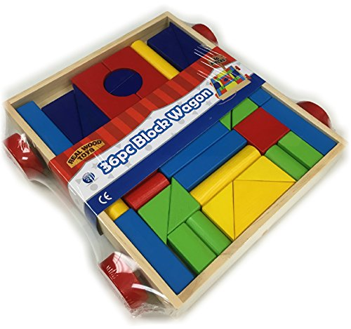 Real Wood Toys Classic 36 Piece Color Unit Building Blocks Take-Along Wagon on Wheels (Colored Unit Blocks compare prices)