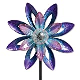 Bits and Pieces - 44' Solar Watercolor Wind Spinner - Solar Powered Glass Ball Emits Color-Changing Light - Sturdy, Durable Outdoor Lawn and Garden Décor