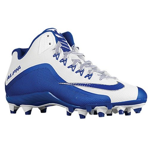Nike Alpha Pro 2 3/4 TD PF Football Cleats (11 M US, White/Royal) (Nike Mens Alpha Pro 2 Td Football Cleats)