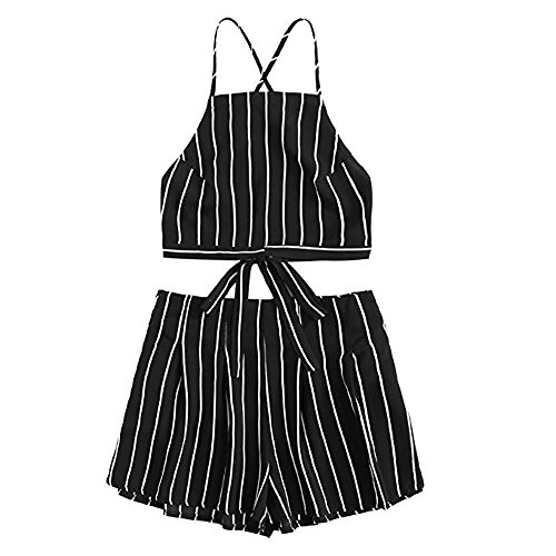 Short Pants Set! Women's Floral Applique Bandage Strap Crop Cami Top with Shorts Set HOT Black -
