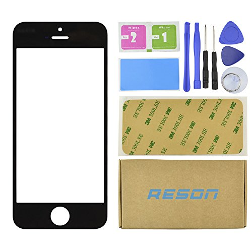 Reson® Front Outer Lens Screen Glass Replacement for Iphone 5 5s 5c Black +Tools Kit+dry/wet/dust Cleaning Paper+adhesive Sticker Tape (Iphone5 Glass Repair Kit White compare prices)