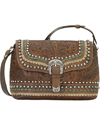 American West Women's Blue Ridge Flap Crossbody Bag Distressed Brown One Size by American West