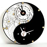 Automaton 1752 Yin and yang unique vintage large wooden wall clock, housewarming, feng shui home decor, wedding gift
