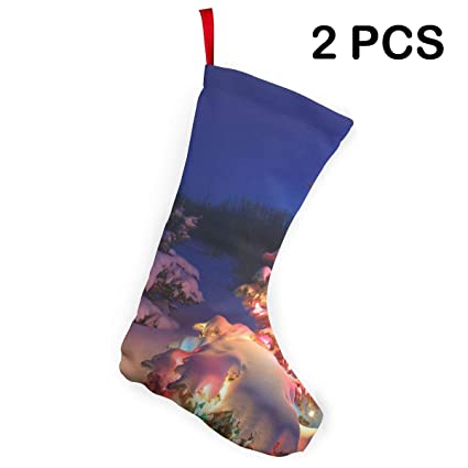 e6a1fb65821989 Lightning Christmas Tree in The Snow Christmas Stockings Xmas Socks  Ornament Themed 12 Inch Two Piece