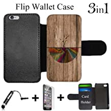 Abstract Tree Roots Wood Custom iPhone 6 PLUS Wallet Cases/6S PLUS Wallet Cases,Bundle 3in1 Comes with HD Tempered Glass/Universal Stylus Pen by innosub