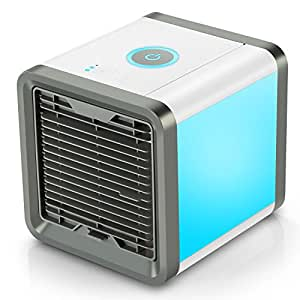 Personal Space Air Cooler, 3 in 1 USB Mini Portable Air Conditioner, Humidifier, Purifier and 7 Colors Nightstand, Desktop Cooling Fan for Office Home Outdoor Travel