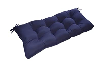 Amazoncom Solid Navy Blue Tufted Cushion For Bench Swing Or