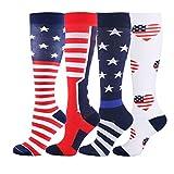 HLTPRO Compression Socks for Women & Men - 4 Pairs 20-30 mmHg Running Stockings