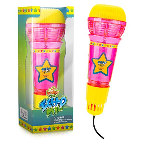 Echo Mic For Kids & Toddlers - Magic Microphone With Multicolored Flashing Light & Fun Rattle - Pink & Yellow | Speech Therapy Feedback Toy - Retro Gift For Boys & Girls Who Love Singing & Music -