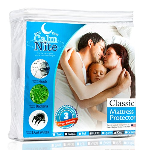 Queen Size Mattress Pad Protector - Waterproof & Hypoallergenic Cover, Vinyl Free Topper - Machine Washable - By CalmniteTM