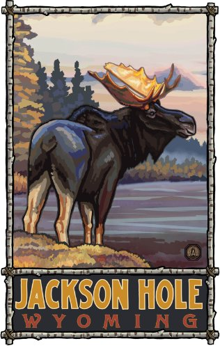 Northwest Art Mall Jackson Hole Wyoming Moose Artwork by Paul A Lanquist, 11-Inch by 17-Inch (Jackson Shopping Mall)