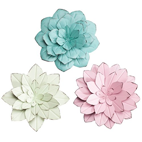 Miles Kimball Rustic Metal Floral Indoor/Outdoor Hanging Decor Maple Lane Creations, Set of 3