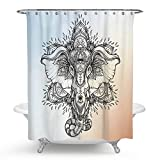really cool shower heads Chengsan Elephant Decor, A Cool Elephant Head Painting Bath Curtain, Polyester Fabric Waterproof Shower Curtain (elephant)