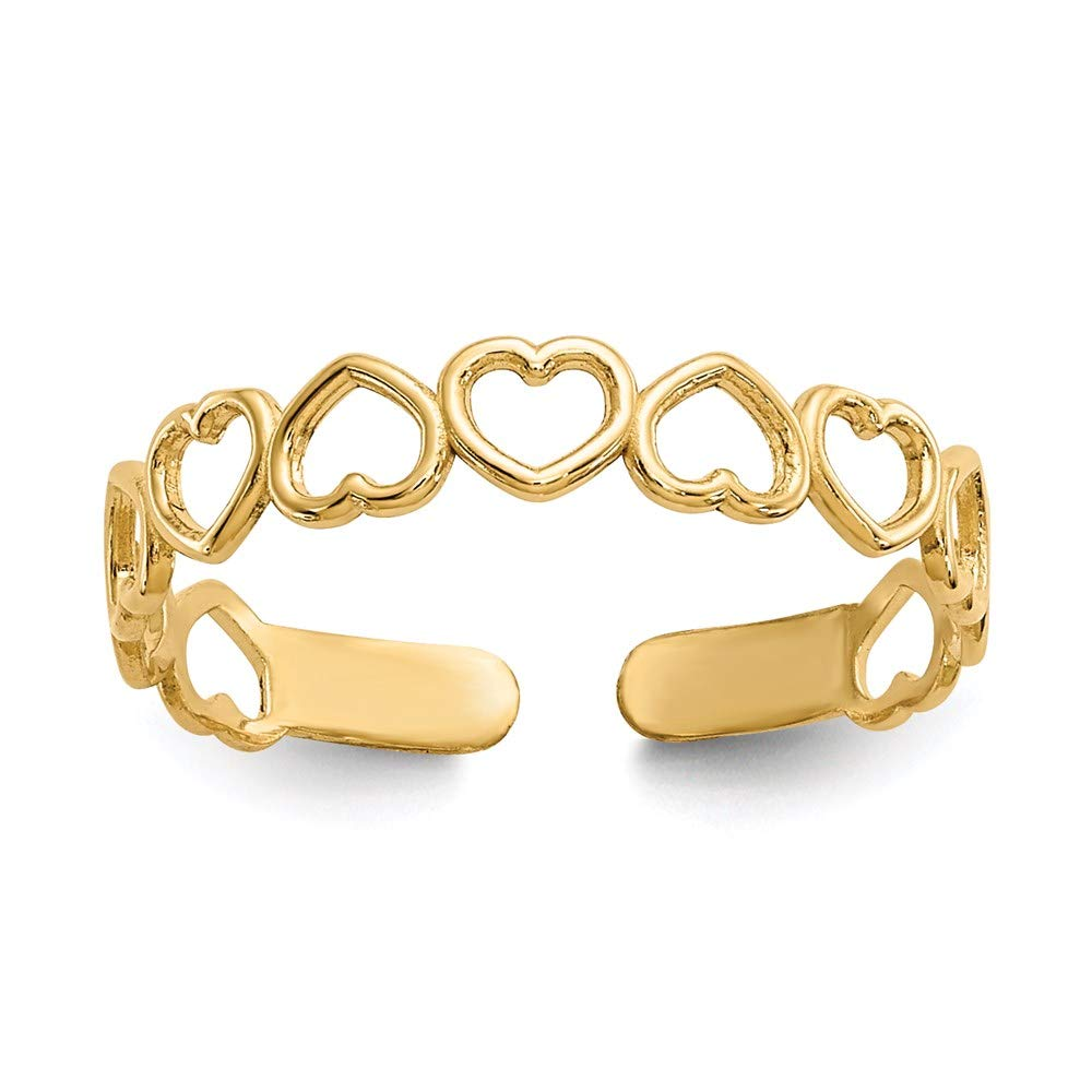 14k Yellow Gold Hearts Adjustable Cute Toe Ring Set Fine Jewelry For Women Gifts For Her