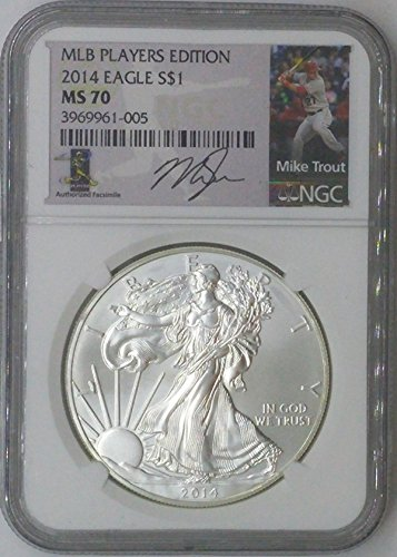 2014 Special Mint $1 MS70 NGC $1 Silver Eagle 1 Troy Oz Fine Silver .999 MLB Players Edition Mike Trout MS70 NGC
