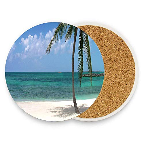 GTdgstdsc PalmBeach Ceramic Coaster Absorbent Stone Coaster with Cork Base Coaster Mats for Cold Drinks Coffee Mugs Glass Cup Place Pack of 1 from GTdgstdsc