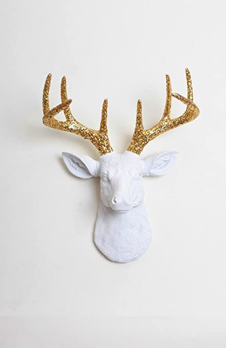 Glitter Deer Head Wall Mount   The Mini Winston | Mini White Resin Deer Head  With