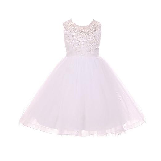 cff876e5f Cinderella Couture Little Girls White 3D Floral Applique Adorned Illusion Flower  Girl Dress 2