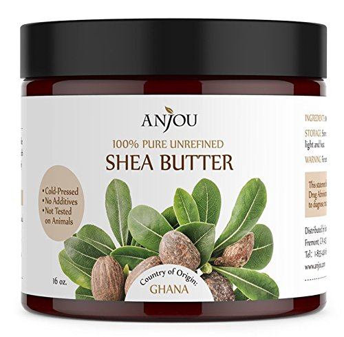 Shea Butter 100% Raw, Unrefined (16 oz, Cold-pressed, Skin and Hair Care, DIY for Whipped Body Butter, Facial Lotion and Cream, Hand Cream, Shampoo, Soap) - Anjou
