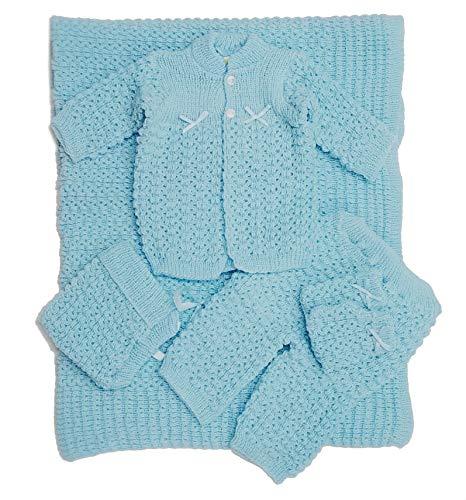 Newborn Baby Crochet Blanket 5 Piece Set Hat, Booties, Sweater, Pants (Blue)