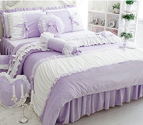 FADFAY Cute Girls Short Plush Bedding Set Romantic White Ruffle Duvet Cover Sets 4-Piece,Purple Queen