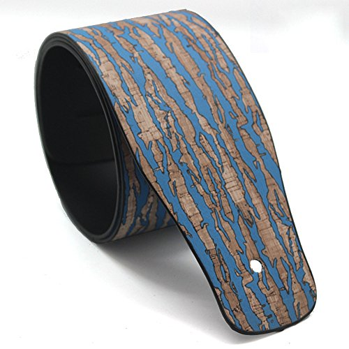 - Art Attack Leather Blue Wood Grain Music Electric Acoustic Ukulele Bass Guitar Strap