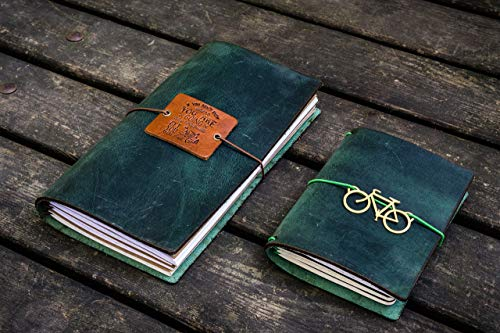 Traveler's Notebook Leather Cover - Crazy Horse Forest Green - Forest Black Leather