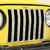 03 wrangler tj grille inserts - E-Autogrilles Chrome ABS Trim Grille Cover Insert for 97-06 Jeep Wranngler TJ (7PCS) (41-0138)