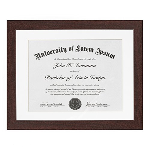 (Americanflat Mahogany Document Frame - Made to Display Documents Sized 8.5x11 Inches with Mat and 11x14 Without Mat - Document Frame, Certification Frame, High School Diploma Frame)