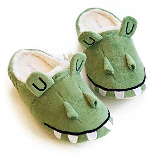 HALLUCI Women's Cozy Fleece Memory Foam House Trick Treat Halloween Slippers (9-10 M US, Wicky Crocodile)